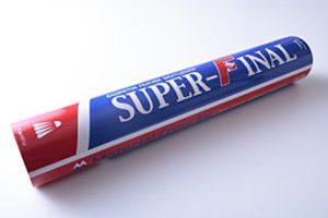 スーパーファイナル(練習球) Super Final 試合球に近い飛行性の中級者向けシャトルです。 キャンペーン価格 1本2,100円(税込) 通常希望小売価格 1本3,024円(税込)